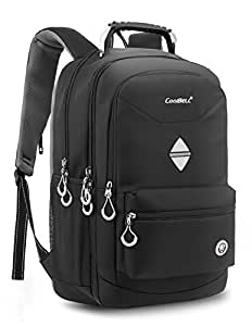CoolBELL 18.4 Inch Backpack Laptop Bag Travel Rucksack Water-resistant Hiking Knapsack Protective Day Pack Fits 15 - 18.4 Inch Laptop For Dell / HP / Lenovo / Macbook / Acer / Men/Women (Black)