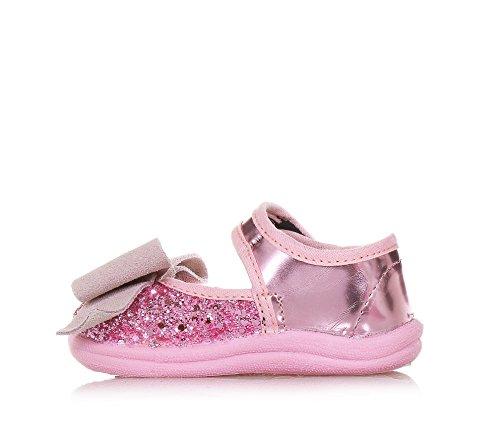 Monnalisa Rosa Ballerina Aus Glanzleder und Glitzern, Made in Italy, Romantisch und Spaßig, Mädchen, Baby
