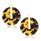 YOUMI Acrylic Earrings for Women Statement Resin Acetate Earrings Tortoiseshell Disk Stud Earrings Bohemia Geometry Round Hoop Earrings (Tortoiseshell)