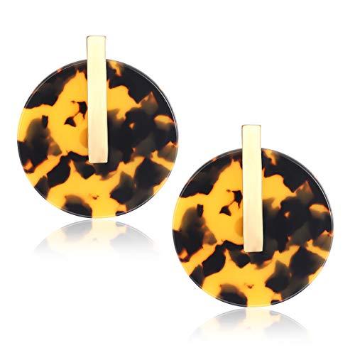 Earrings Pierced Lucite (YOUMI Acrylic Earrings for Women Statement Resin Acetate Earrings Tortoiseshell Disk Stud Earrings Bohemia Geometry Round Hoop Earrings (Tortoiseshell))