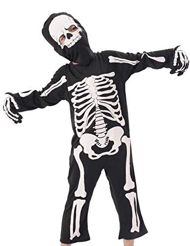 Kids Skeleton Costumes, Halloween Scary Dress Up, Skull Outfit for Carnival Party, World Book Day Black and White]()