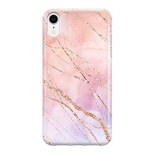 Obbii Rose Gold Foil Case Gradient Watercolor Blush Marble Shockproof Slim TPU Flexible Soft Silicone Protective Durable Cover Case Compatible with iPhone XR