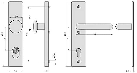 7500-0308 TS 38-54mm // AB 72mm // VK 8 Wechsel-Garnitur T/ürbeschlag SB 3100