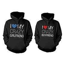 365 Printing I Love My Crazy Boyfriend and Girlfriend Cute Matching Couple Hoodies