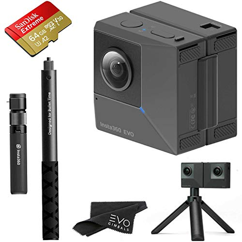 Insta360 EVO 3D 360 Hybrid VR Camera with 5.7K Video and 18MP Photos - Bundle Includes Bullet Time Kit and 64GB Sandisk Extreme microSDXC (3 Items) - Works with Oculus, Samsung Gear VR & Vive Focus