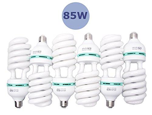 Fovitec - 6x 85 Watt Daylight Fluorescent Light Bulb for Video & Photography - [6 Pack][85 W][CFL][90+ CRI][5500K Full Spectrum]