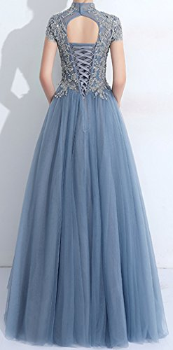 Turqoise Neck A Gown Dresses BD430 2018 Tulle Elegant High Formal Line Prom Party Lace BessDress E6Aqwg
