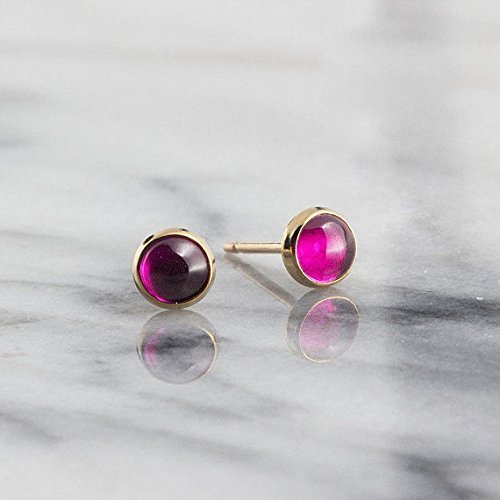Gold Stud Earrings Ruby Stone Gold Studs 4mm by Fashion Art Jewelry
