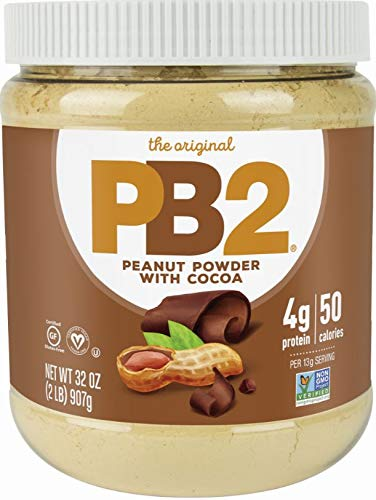 PB2 Powdered Chocolate Peanut Butter with Cocoa - 4g of Protein, 90% Less Fat, Certified Gluten Free, Only 50 Calories per Serving for Shakes, Smoothies, Low-Carb, Keto Diets [2 Lb/32oz Jar] (32oz) 1