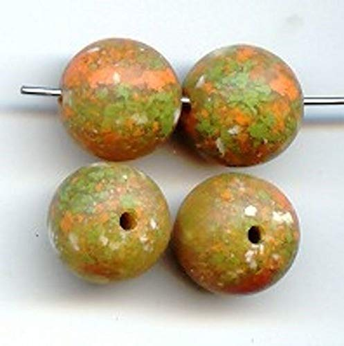 (12 Vintage Green Coral Granite Lucite 12mm. Smooth Round Beads HDRY- 339)
