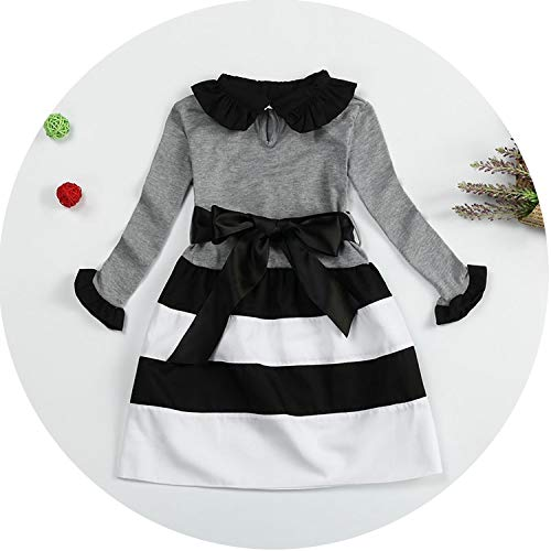 Baby Girl Dress Long Sleeve Baby Kids Clothes Girls Dress Stripe Dresses for Girl School Wear Toddler Infant Costume,A0222G,6 -