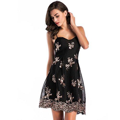 Lentejuelas Sash Negras Vestido Ropa Impreso S Vestido Bra de L Noche xUwqqBga