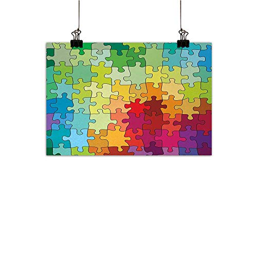 Josepsh Abstract PaintingsColorful Puzzle Pieces Fractal Children Hobby Activity Leisure Toys Cartoon ImageLiving Room Decorative paintingMulticolor W20 x H16 (Tin Baseball Puzzle)