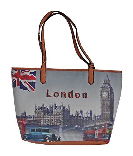 angesagte Handtasche, Shopper mit Fotodruck, London