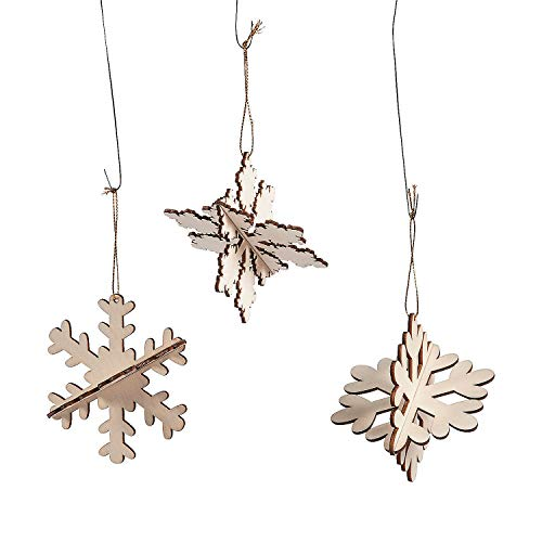 - Fun Express - DIY 3D Snowflake Ornaments for Winter - Craft Kits - DYO - Wood - Misc DYO - Wood - Winter - 12 Pieces