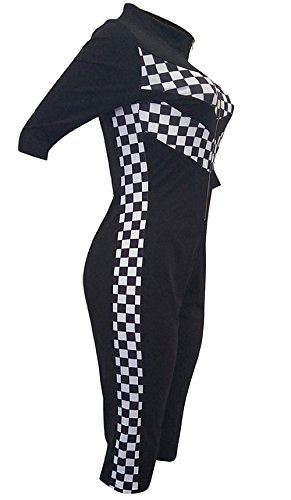 Donna Profondo Tuta Manica Estivi Bodycon Fashion Fit Jumpsuit Con Slim Ragazze Overall Cerniera 3 4 V Tutine Nero Abbigliamento Casual Ragazza Pagliaccetto Chic Moda SSrqw4