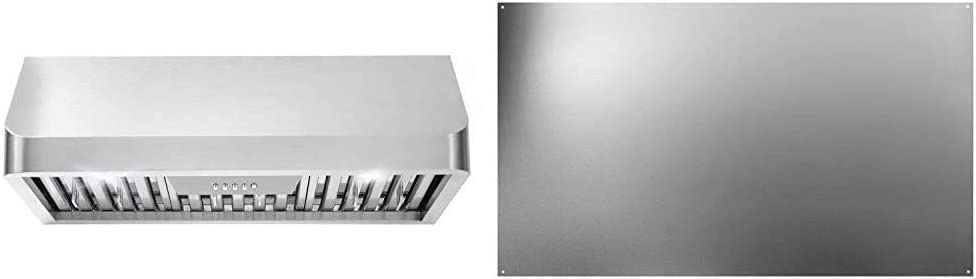 Cosmo QB75 30 in. Under Cabinet Range Hood Convertible (Kit Not Included) in Stainless Steel & Broan-NuTone SP3004 Reversible Stainless Steel Backsplash Range Hood Wall Shield, 24 by 30-Inch