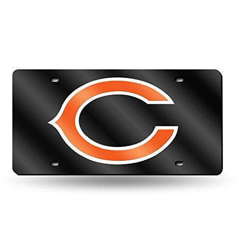 NFL Chicago Bears Laser Inlaid Metal License Plate Tag (License Bears Plate Chicago Laser)