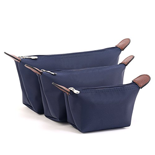 DOIOWN Women's Makeup Bag Cosmetic Bag Toiletry Bag Travel Make up Bag Beauty Bag Organizer Pouch 3-Pack (Blue)