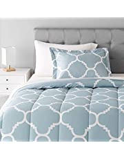 AmazonBasics 5-Piece Bed-In-A-Bag Comforter Bedding Set - Twin or Twin XL, Dusty Blue Trellis, Microfiber, Ultra-Soft