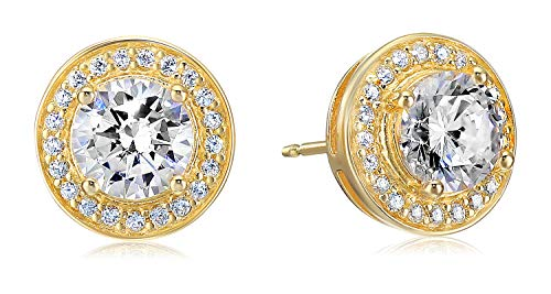 Amazon Essentials Yellow Gold Plated Sterling Silver Cubic Zirconia Halo Stud - 18k Gold Yellow Earrings