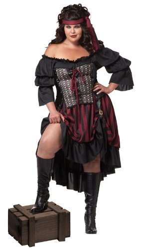 Wench Halloween Makeup (California Costumes Women's Plus-Size Pirate Wench Plus, Black/Burgundy,)