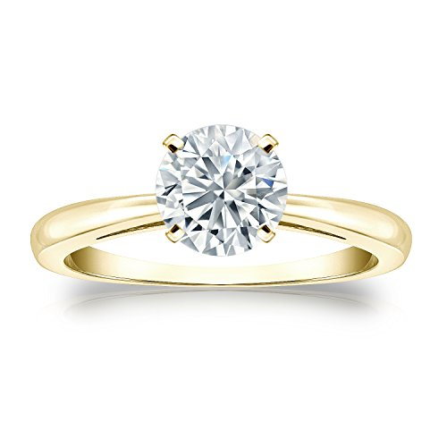 14k Yellow Gold Round-cut Diamond 4-Prong Solitaire Ring (1/4 cttw, J-K, I1-I2), Size (Four Prong 14ky Gold Solitaire)