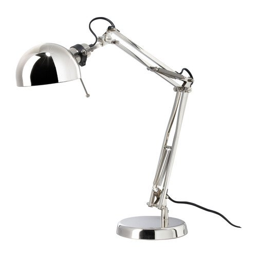 Ikea 601.467.64 Forsa Work Lamp, Nickel Plated
