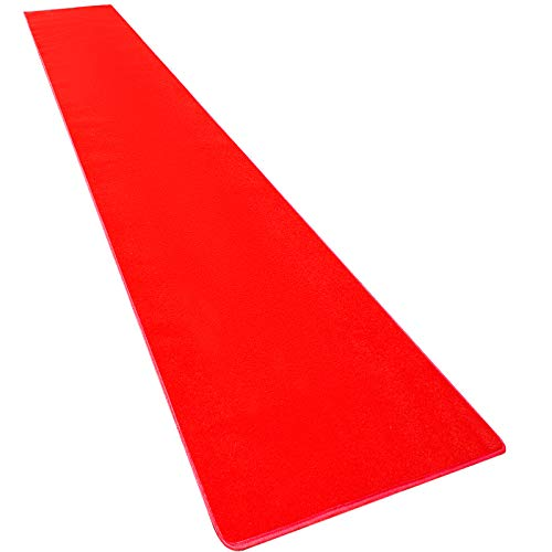 Happybuy 4Ft X 50Ft Large Red Carpet Runner Rug Solid TRP Rubber Backed Hollywood Runner Carpet Non-Slip Stair Patio Party Decor Wedding 1.2M X 15.2M Aisle Floor Runner Rug (Red, 4x50Ft)