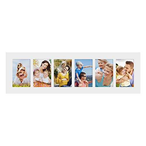 Adeco Decorative White Wood Wall Hanging Collage Picture Pho