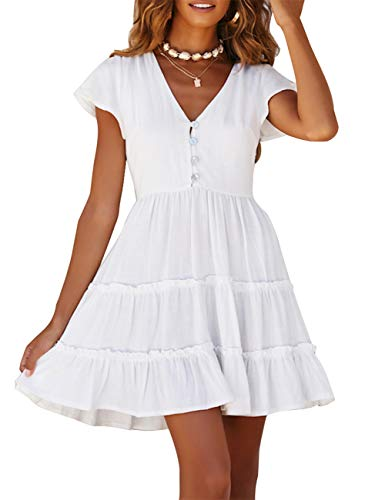 MEROKEETY Women's Summer V Neck Button Down Ruffle Sleeves Pleated Swing Mini Dress White
