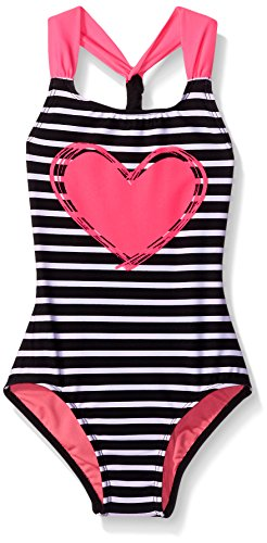 Freestyle Big Girls' Sailor Heart One Piece Swimsuit, Black Plum, 7