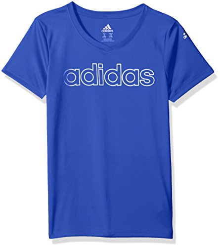 adidas Big Girls' Short Sleeve Graphic Tee Shirts, Hi-Res Blue, Large