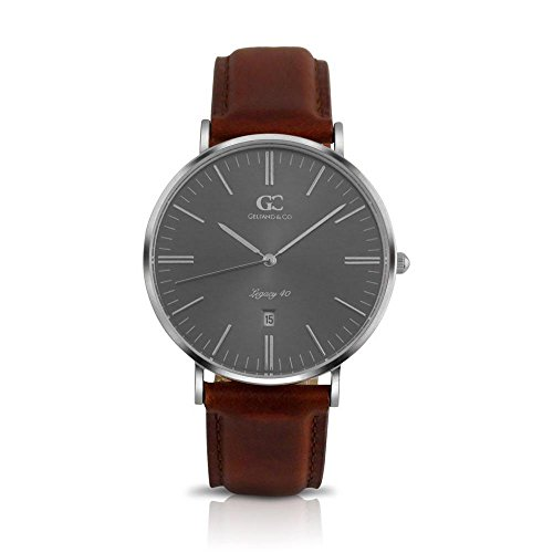 Gelfand & Co. Men's Minimalist Watch Brown Leather Remsen 40mm Silver with Gray Metallic Dial
