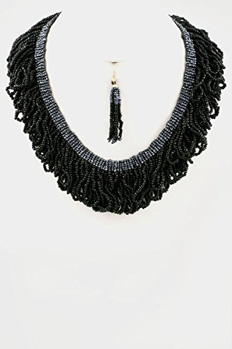 Foxtail Cluster (Karmas Canvas Beads Cluster Collar Necklace Set (Black))
