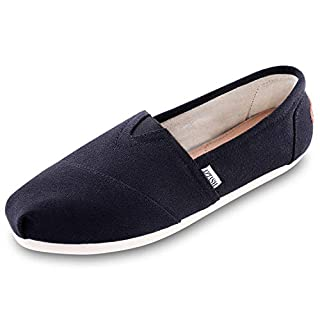 Women's Canvas Shoes Slip-on Ballet Flats Classic Casual Sneakers Daily Loafers Black