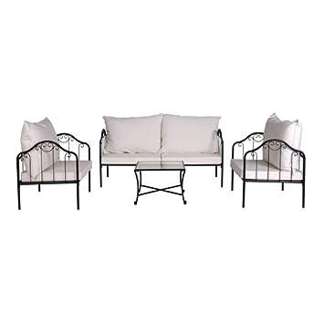 Salon de jardin détente Boa Vista - Métal - Noir et blanc ...