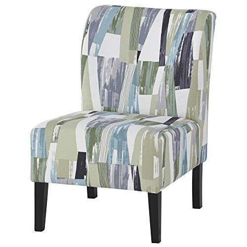 Ashley Furniture Signature Design - Triptis Accent Chair - Contemporary - Geometric Pattern in Green/Blue/Gray - Dark Brown Legs