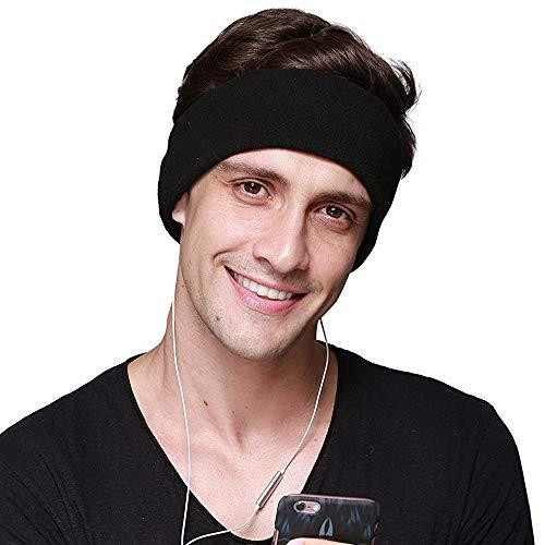 Sleep Headphones, with Ultra Thin Adjustable Speakers Comfortable Soft Fleece Headband Sleep Eye Mask for Sleeping, Perfect for Air Travel, Sports, Relaxation, Meditation and Insomnia - Black