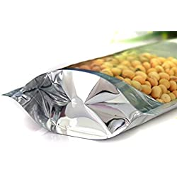 "CTKcom Clear Silver Food Storage Bags(50PCS )- Aluminum Foil Stand Up Zipper Heat Sealable Pouches,Resealable Zip Mylar Bag Food Storage,Coffee Herb Nuts Storage Bags for Long Term Storage,6""x8.7"""