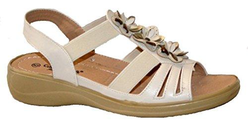 sandale fleur élastique talon avec léger Crème Mesdames à coussin design Walk d'été 1qSHSRpw0