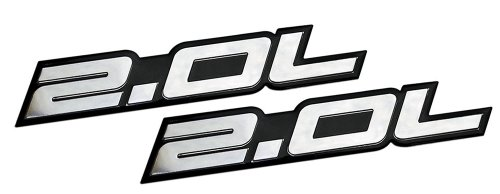 2 x (pair/Set) 2.0L Liter Embossed SILVER on Black Highly Polished Silver Real Aluminum Auto Emblem Badge Nameplate for Honda B20 B-20 Civic Si LX EX CRV CR-V Del Sol S2000 F20C Fit Prelude Acura Integra ILX RSX Nissan Sentra S SR SR20-DET RB20-DET 240SX 200SX Mazda 3 MX5 MX-5 Miata Sport 626 LX Grand Touring Protégé Mitsubishi Ralliart 4G63 4B11T Lancer EST GSR OZ EVO Evolution X Eclipse GS GST Spyder Eagle Talon Galant Mighty Max Outlander ES Sedan coupe 2 3 4 5 2dr 3dr 4dr 5dr door hatchback turbo turbocharged