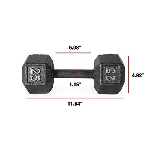 CAP Barbell Cast Iron Hex Dumbbell Weights (Pair), Black, 25 lb