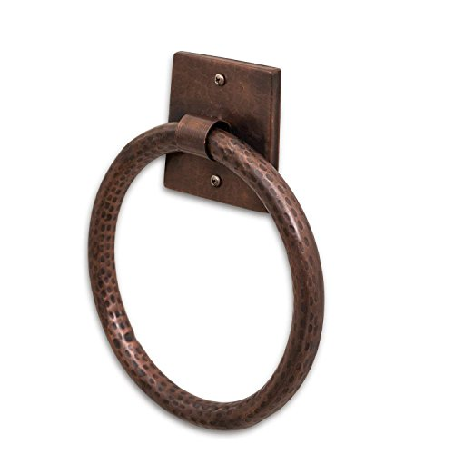 Monarch Abode 17089 Pure Copper Hand Hammered Towel Ring, Antique Copper Wood Holder
