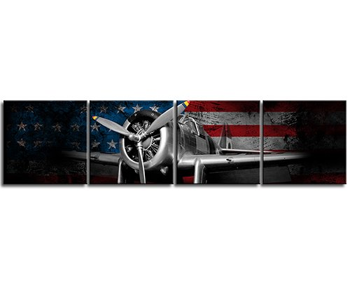 White Collocation Fighter Bomber Head Propeller Classic Plane Picture Wounded Background of the American Flag Metallic Body Canvas Print Home Wall Art Ready to Hang 12X12 4 Panel ()