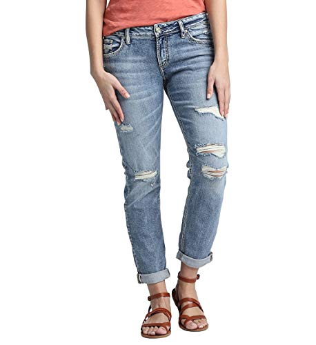 Silver Jeans Co. Women's Plus Size Mid Rise Boyfriend Jeans, Destroyed Light Indigo Wash, 16x25