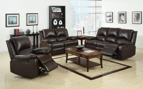 Furniture of America Wulner 3-Piece Leatherette Recliner Sofa Set, Rustic Dark Brown (Leather Living Room Set)