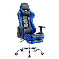Neader Gaming Chair Ergonomic Office Chair Computer Racing Gaming Sport Race PU Leather Seat w/Footrest - Blue