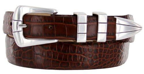 Brown Calfskin Belt (Vince Italian Calfskin Leather Designer Golf Dress Belt for Men (42, Alligator)
