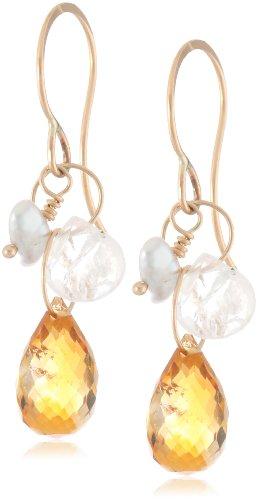 Melissa Joy Manning 14k Yellow Gold, Keshi Cultured Pearl, Moonstone, and Citrine Drop Earrings